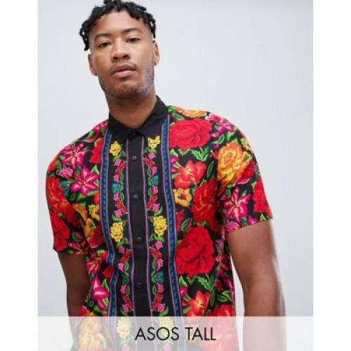 【海外限定】黒 ブラック メンズファッション トップス カジュアルシャツ 【 BLACK ASOS DESIGN TALL REGULAR FIT FLORAL SHIRT WITH BORDER IN 】
