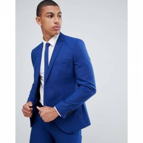 青 ブルー メンズファッション コート ジャケット 【 BLUE SELECTED HOMME SKINNY SUIT JACKET IN WITH STRETCH 】 ※セットアップではありません