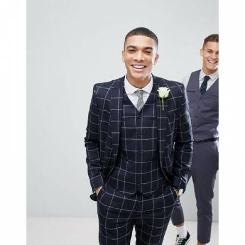 紺 ネイビー メンズファッション スーツ セットアップ 【 NAVY ASOS WEDDING SKINNY SUIT JACKET IN WINDOWPANE CHECK 】 ※セットアップではありません