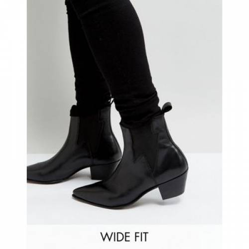 キューバン 黒 ブラック レザー メンズ ブーツ 【 BLACK ASOS DESIGN WIDE FIT CUBAN HEEL WESTERN BOOTS IN LEATHER WITH LIGHTNING DETAIL 】
