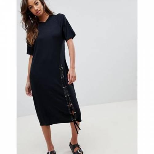 Tシャツ ドレス レディースファッション ワンピース 【 ASOS MIDI TSHIRT DRESS WITH LACE UP 】