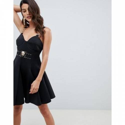 ストラップ ドレス レディースファッション ワンピース 【 ASOS DESIGN CHAIN STRAP DETAIL SCUBA MINI SKATER DRESS 】