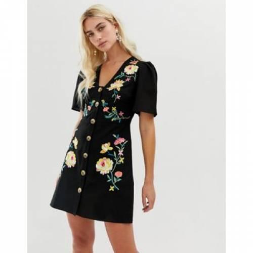 ドレス レディースファッション ワンピース 【 ASOS DESIGN EMBROIDERED BUTTON THROUGH MINI TEA DRESS 】
