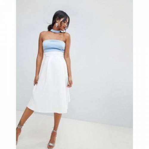 ドレス レディースファッション ワンピース 【 ASOS DESIGN COLOURBLOCK CHOKER PROM DRESS 】