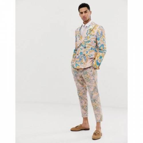 スリム メンズファッション コート ジャケット 【 SLIM ASOS DESIGN WEDDING DOUBLE BREASTED SUIT JACKET IN PAISLEY PRINT 】 ※セットアップではありません
