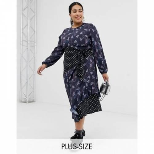 ドレス レディースファッション ワンピース 【 LOST INK PLUS MIDAXI DRESS WITH TIE WAIST IN MIXED PRINT 】