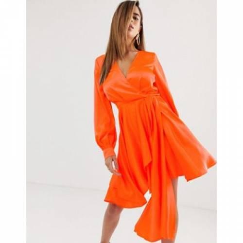 ドレス サテン レディースファッション ボトムス スカート 【 ASOS DESIGN MINI DRESS IN SATIN WITH FLIPPY SKIRT 】