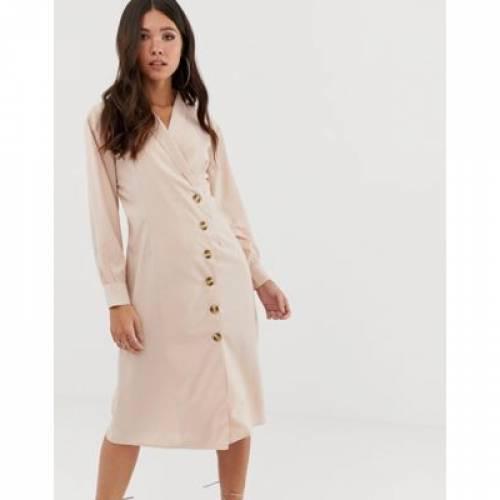 ドレス レディースファッション ワンピース 【 MISSGUIDED MIDI SHIRT DRESS IN BEIGE 】