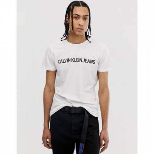 スクリプト ロゴ Tシャツ スリム 白 ホワイト メンズファッション トップス カットソー 【 SLIM WHITE CALVIN KLEIN JEANS INSTITUTIONAL SCRIPT LOGO TSHIRT FIT 】
