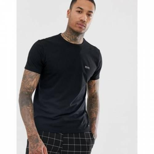 ロゴ Tシャツ 黒 ブラック メンズファッション トップス カットソー 【 BLACK BOSS ATHLEISURE FRONT AND BACK LOGO TSHIRT IN 】