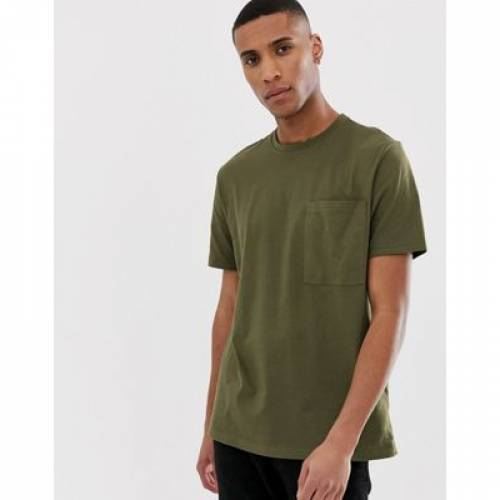 Tシャツ カーキ メンズファッション トップス カットソー 【 ASOS DESIGN ORGANIC RELAXED TSHIRT WITH POCKET IN KHAKI 】