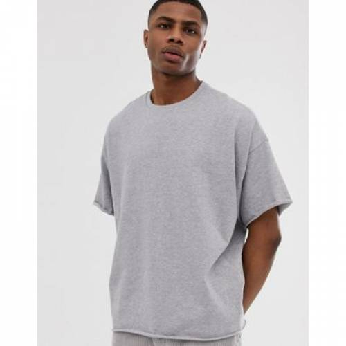 Tシャツ GRAY灰色 グレイ メンズファッション トップス カットソー 【 GREY ASOS DESIGN HEAVYWEIGHT OVERSIZED FIT TSHIRT WITH CREW NECK AND RAW EDGES IN MARL 】