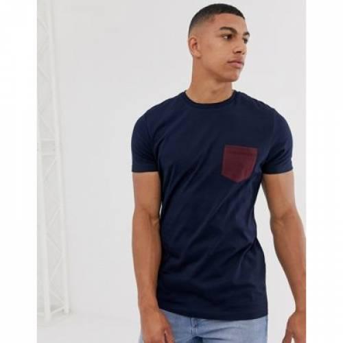 Tシャツ 紺 ネイビー メンズファッション トップス カットソー 【 NAVY ASOS DESIGN TSHIRT WITH CONTRAST POCKET IN 】