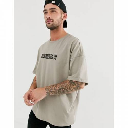 Tシャツ メンズファッション トップス カットソー 【 ASOS DESIGN OVERSIZED TSHIRT WITH MOMENTUM EMBROIDERY AND PRINT 】