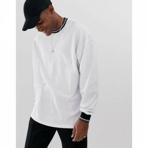 スリーブ Tシャツ 白 ホワイト メンズファッション トップス カットソー 【 SLEEVE WHITE ASOS DESIGN PIQUE OVERSIZED LONG TSHIRT WITH TIPPING IN 】