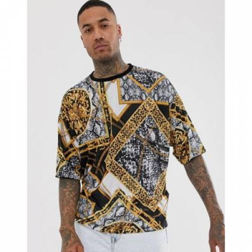 Tシャツ メンズファッション トップス カットソー 【 ASOS DESIGN OVERSIZED TSHIRT WITH ALL OVER BAROQUE PRINT 】