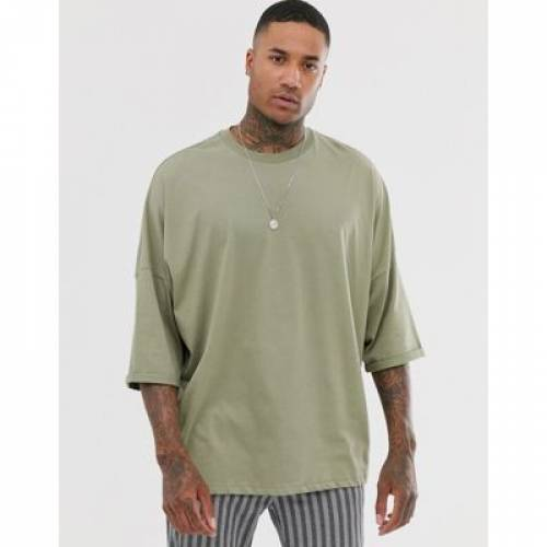 Tシャツ スリーブ 緑 グリーン メンズファッション トップス カットソー 【 SLEEVE GREEN ASOS DESIGN EXTREME OVERSIZED LONGLINE TSHIRT WITH ROLL IN 】