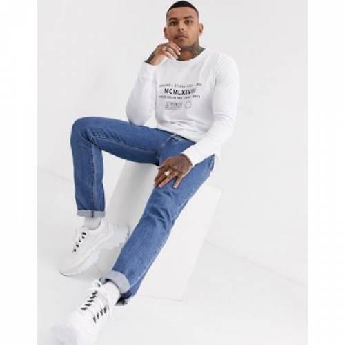 スリーブ Tシャツ 白 ホワイト メンズファッション トップス カットソー 【 SLEEVE WHITE TOPMAN LONG TSHIRT WITH TEXT IN 】