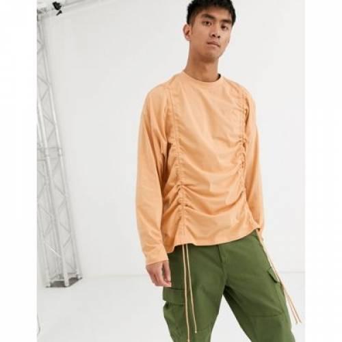 スリーブ Tシャツ メンズファッション トップス カットソー 【 SLEEVE ASOS DESIGN ORGANIC OVERSIZED LONGLINE LONG TSHIRT WITH RUCHING IN BEIGE 】