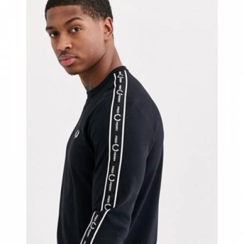 【スーパーセール中! 6/11深夜2時迄】スリーブ Tシャツ 黒 ブラック メンズファッション トップス カットソー 【 SLEEVE BLACK FRED PERRY LONG TSHIRT WITH SIDE TAPING IN 】
