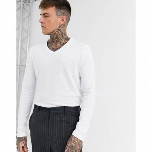 スリーブ Tシャツ 白 ホワイト メンズファッション トップス カットソー 【 SLEEVE WHITE ASOS DESIGN LONG TSHIRT WITH V NECK IN 】