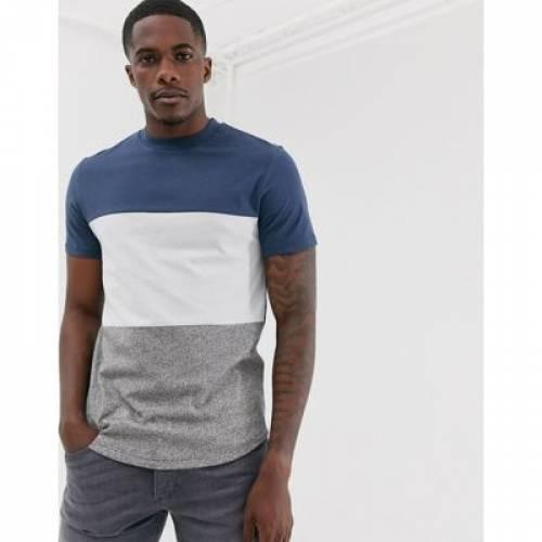 Tシャツ 青 ブルー メンズファッション トップス カットソー 【 BLUE ASOS DESIGN LONGLINE TSHIRT WITH CURVED HEM IN COLOUR BLOCK 】