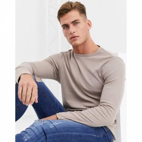 スリーブ Tシャツ メンズファッション トップス カットソー 【 SLEEVE RIVER ISLAND LONG RIBBED TSHIRT IN STONE 】
