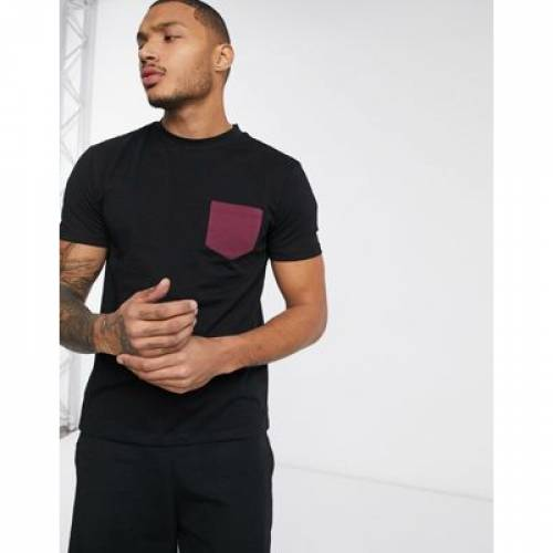 Tシャツ 黒 ブラック メンズファッション トップス カットソー 【 BLACK ASOS DESIGN TSHIRT WITH CONTRAST POCKET IN 】