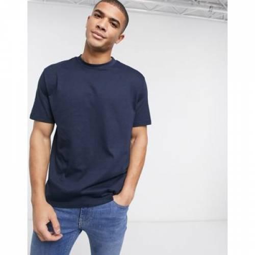 Tシャツ 紺 ネイビー メンズファッション トップス カットソー 【 NAVY ASOS DESIGN ORGANIC RELAXED TSHIRT WITH CREW NECK IN 】