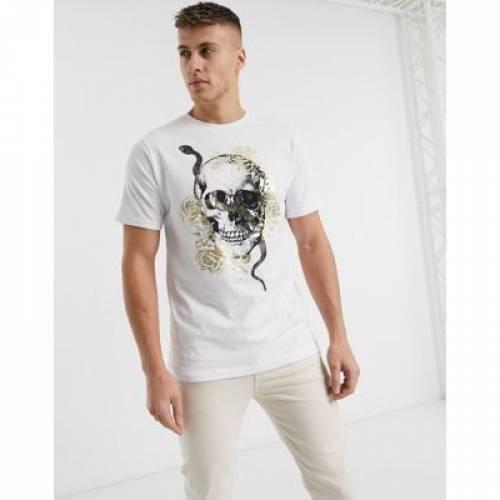 Tシャツ 白 ホワイト メンズファッション トップス カットソー 【 WHITE RIVER ISLAND TSHIRT WITH FOIL SKULL PRINT IN 】