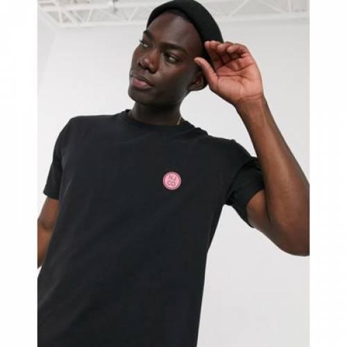 ロゴ Tシャツ 黒 ブラック メンズファッション トップス カットソー 【 BLACK NUDIE JEANS UNO BADGE LOGO TSHIRT IN 】
