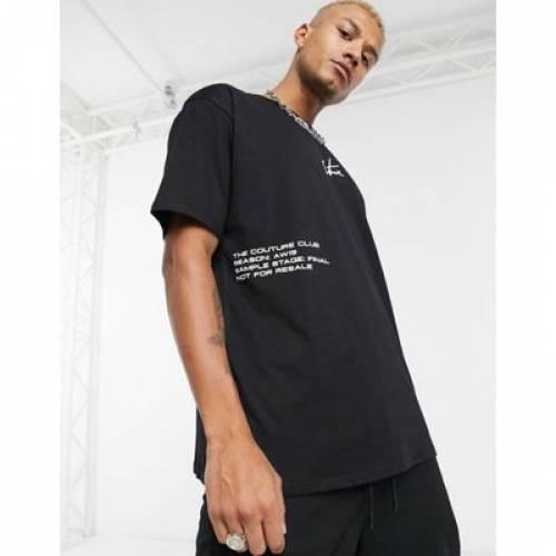 クラブ Tシャツ 黒 ブラック ロゴ メンズファッション トップス カットソー 【 BLACK THE COUTURE CLUB OVERSIZED TSHIRT IN WITH LOGO LABEL 】