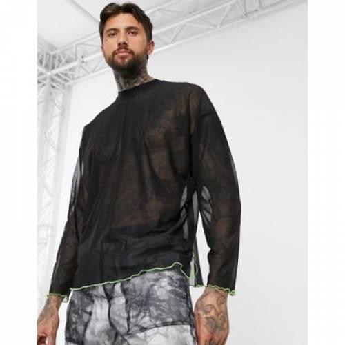 スリーブ Tシャツ 黒 ブラック メンズファッション トップス カットソー 【 SLEEVE BLACK ASOS DESIGN OVERSIZED LONG TSHIRT WITH SIDE SPLITS IN FINE MESH CONTRAST HEM DETAIL 】