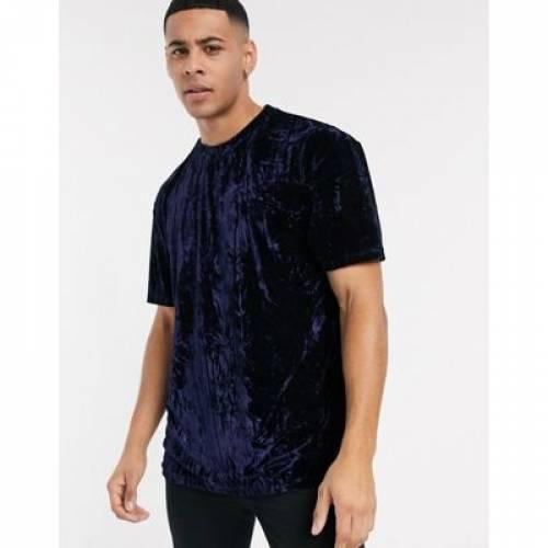 Tシャツ 紺 ネイビー メンズファッション トップス カットソー 【 NAVY TOPMAN VELVET TSHIRT IN 】