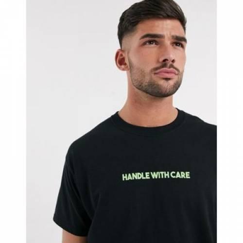 Tシャツ 黒 ブラック メンズファッション トップス カットソー 【 BLACK NEW LOOK OVERSIZED HANDLE WITH CARE SLOGAN TSHIRT IN 】