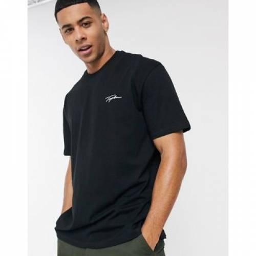 Tシャツ 黒 ブラック メンズファッション トップス カットソー 【 BLACK TOPMAN TSHIRT WITH SIGNATURE PRINT IN 】