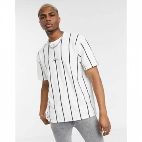 Tシャツ 白 ホワイト メンズファッション トップス カットソー 【 WHITE TOPMAN SIGNATURE STRIPED TSHIRT IN 】