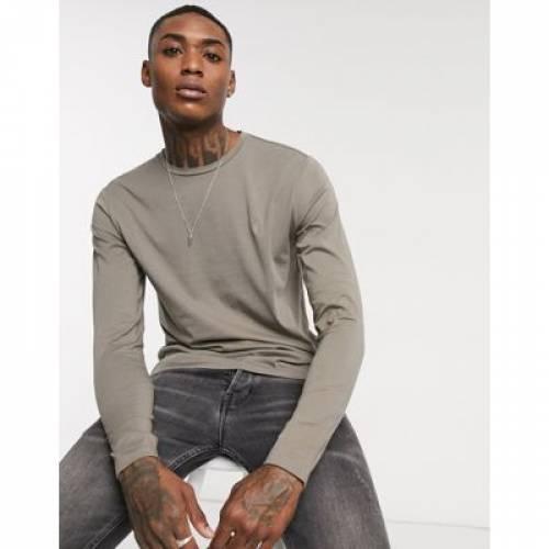 スリーブ ロゴ Tシャツ GRAY灰色 グレイ メンズファッション トップス カットソー 【 SLEEVE GREY ALLSAINTS TONIC LONG RAMSKULL LOGO TSHIRT IN 】
