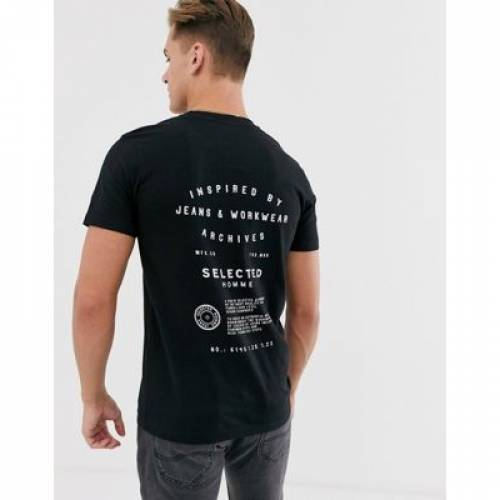グラフィック Tシャツ 黒 ブラック メンズファッション トップス カットソー 【 BLACK SELECTED HOMME BACK GRAPHIC PRINT TSHIRT IN 】