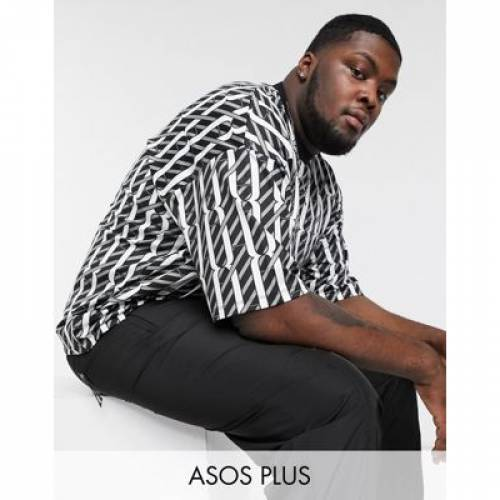 Tシャツ メンズファッション トップス カットソー 【 ASOS DESIGN PLUS OVERSIZED ALL OVER MONOGRAM PRINT TSHIRT IN POLY TRICOT 】