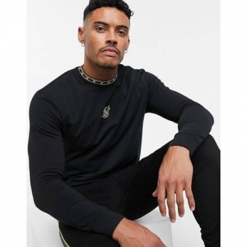 スリーブ Tシャツ 黒 ブラック メンズファッション トップス カットソー 【 SLEEVE BLACK SIKSILK LONG TSHIRT IN WITH GOLD TAPING 】