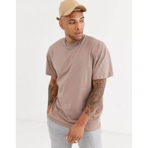 Tシャツ メンズファッション トップス カットソー 【 ASOS DESIGN OVERSIZED LONGLINE TSHIRT WITH CREW NECK IN BEIGE 】