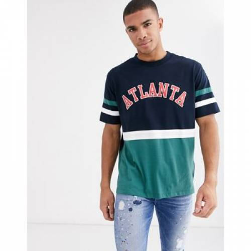 Tシャツ メンズファッション トップス カットソー 【 ASOS DESIGN RELAXED TSHIRT WITH COLOUR BLOCK AND COLLEGIATE PRINT IN ORGANIC COTTON 】