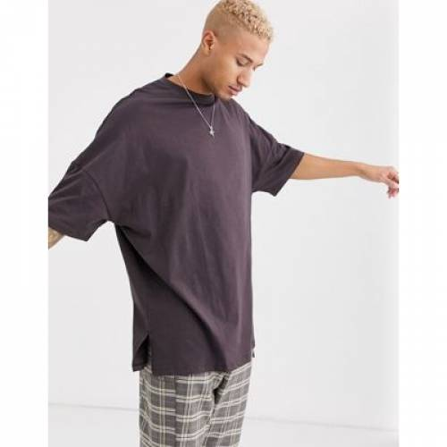 Tシャツ 茶 ブラウン メンズファッション トップス カットソー 【 BROWN ASOS DESIGN EXTREME OVERSIZED SUPER LONGLINE TSHIRT WITH SIDE SPLITS IN 】