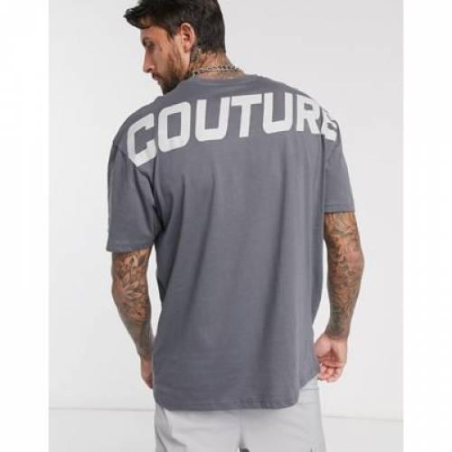 クラブ Tシャツ GRAY灰色 グレイ メンズファッション トップス カットソー 【 GREY THE COUTURE CLUB OVERSIZED PRINT TSHIRT IN 】