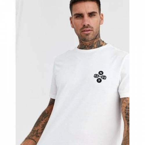 白 ホワイト メンズファッション トップス Tシャツ カットソー 【 WHITE NEW LOOK NY DOT CHEST PRINT IN 】
