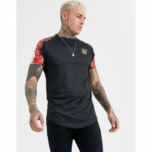 Tシャツ メンズファッション トップス カットソー 【 SIKSILK MUSCLE TSHIRT WITH FLORAL SIDE PRINT 】