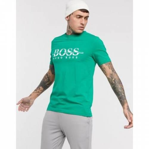 【スーパーセール中! 6/11深夜2時迄】ロゴ Tシャツ 緑 グリーン メンズファッション トップス カットソー 【 GREEN BOSS ATHLEISURE TEE6 CHEST LOGO TSHIRT IN 】