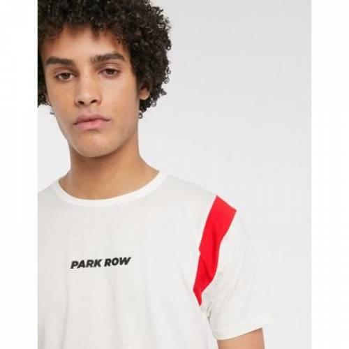 パーク Tシャツ 白 ホワイト メンズファッション トップス カットソー 【 WHITE PARK ROW TSHIRT WITH SHOULDER PANEL IN 】