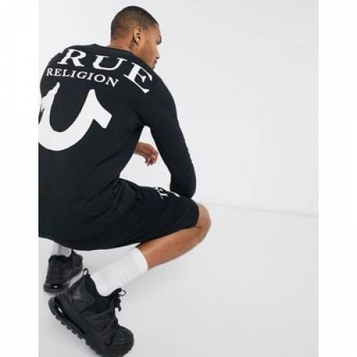 ロゴ 黒 ブラック メンズファッション トップス Tシャツ カットソー 【 BLACK TRUE RELIGION U LOGO LONG SLEEVED TOP IN 】